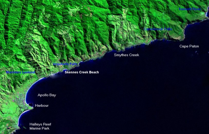 Great Ocean Road Satellite Image Kennett River to Apollo Bay